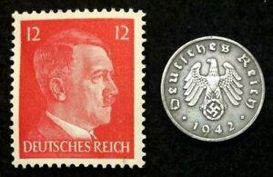 Rare WW2 German 1 Reichspfennig Coin & Unsued Stamp Historical WW2 Artifacts