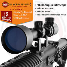 3-9X50 Airsoft sniper rifle scope + 20mm Weaver mounts / Airgun Air rifle scope