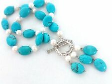sky-blue oval turquoise howlite white freshwater pearl pendant necklace USA EUB