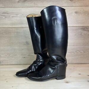 Vintage Black Marlborough English Riding Boots Sz 7.5 US Horse Equestrian