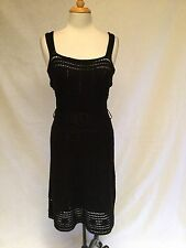 Catherine Malandrino Crochet Knit Tank Dress-Black With Belt Size 6