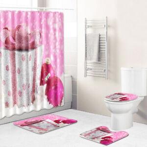 4 Pcs Snowman Shower Curtain Waterproof Christmas Bath Decoration Non-Slip Rug