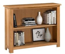 Wide and Low Oak Bookcase | Wooden Storage Bookshelf | Solid Wood Shelving Unit