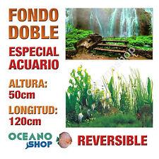 FONDO 120x50cm DOBLE CARA REVERSIBLE DECORATIVO ACUARIO CASCADA Y PLANTAS D406