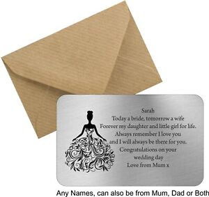 Personalised Daughter Bride on your wedding day from mum to bride wallet card