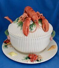 Fitz & Floyd Fish Market 3.5qt Tureen Lobster Lid Ladle & Underplate/Chop Plate