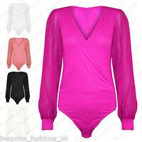 Women's Long Sleeve Chiffon Bodysuit Top Ladies Wrap Over Body Top Leotard 8-22