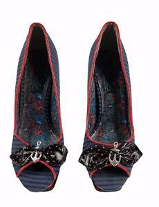 Womens High Heels Platform Shoes Iron Fist US 7 Sailor Anchor Punk Emo Red Blue