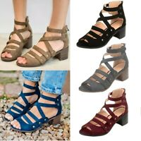 Women's Block Low Heel Open Toe Ankle Strappy Gladiator Sandal Summer Shoes Size