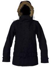 New DC Shoes Brixen Black Snowboarding Ski Jacket Black Hoodie Fur Coat Medium