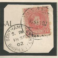 1902 Pieza Paquebot con España 10c Rojo cancelar Southampton envío carta 1482