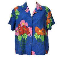 jams world button up blue floral Cropped shirt Womens Size S