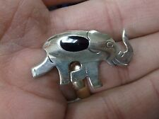 """Very Nice Vtg Sterling Silver & Onyx Elephant Lapel Pin - """"Republican""""? Vg Cond"""