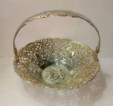 Antique Repousse Rococo Lattice basket,has a  800 Silver stamp Children Cheru