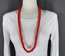 """red wood big bead long 30"""" necklace beaded wooden lightweight"""