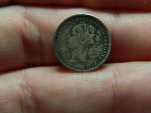 Queen Victoria silver Three pence 3p coin dated 1884 metal detecting detector