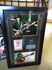MOTORHEAD LEMMY KILMISTER backstage pass and guitar pick custom frame in signed