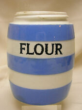 """T G Green Flour Cornish Kitchen Ware Made in England 4 1/4"""" Tall Pottery No Lid"""