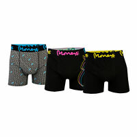 Mens Money Ubangi 3 Pack Boxer Shorts In Black- One Plain, One Patterned, One