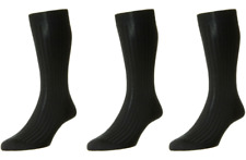 Pantherella Laburnum 3 Pack Ribbed Merino Blend Socks UK 7.5-9.5 Medium Black