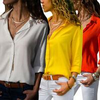 Lady Women's Formal Chiffon Shirt Office Uniform OL Work V Neck Blouse Wear Tops