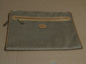 Early Vintage Gucci Brown GG Leather Canvas Portfolio Clutch Bag Italy 11 x 15