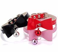 Small Collar Dog Cat Velvet Bow Pet Puppy Bell Kitten Christmas Necktie BowTie S