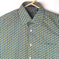 Alan Flusser Men's Shirt M Medium Button Paisley Blue Yellow Long Sleeve NWOT