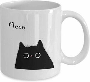 Meow Cat Lover Mug Black Cat Funny Birthday Ceramic Coffee Mug Gift Men Women