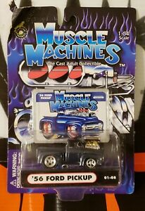 """2001 MUSCLE MACHINES ** '56 FORD PICKUP ** 01-08 """" BAD CARD """" 1:64"""