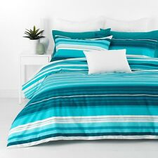 New Alex Aqua Blue Queen Size Quilt / Doona Cover Set In 2 Linen Covers  Striped