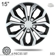 """For VW New 15"""" Hubcaps Spyder Performance Black and Silver Wheel Covers 553"""