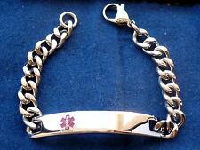STAINLESS STEEL MEN'S MEDICAL ALERT ID BRACELET 8.25''