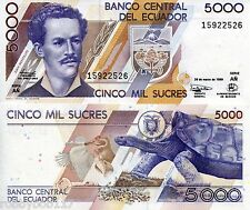 ECUADOR 5000 Sucres Banknote World Money Currency BILL p128c Tortoise Penguin