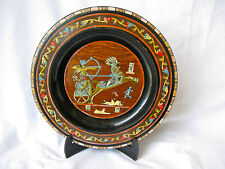 "Egyptian Wooden Inlaid Mother Pearl Wall Ramses Plate Black Brown 12"" #21 Sale"