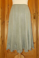 WOWO olive green khaki moleskin lace midi gypsy boho riding skirt 14L 42
