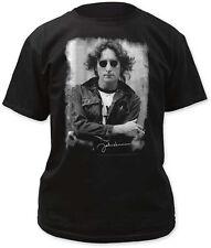 John Lennon-( The Beatles)-Classic NYC Jacket Photo-Large Black T-shirt