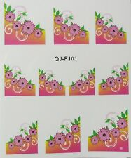 Accessoire ongles : nail art - Stickers décalcomanie - motifs marguerites roses