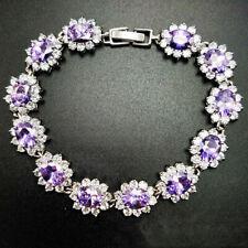 Handmade Flower Shaped Natural Purple Amethyst Gems Silver Charm Chain Bracelets