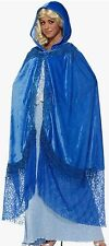 Medieval Fantasy Elegant Cape Blue OR Red Lace Hood Adult Victorian Costume