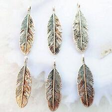 40pcs Tibetan Silver  Feather Charms Pendant Bead PJ078