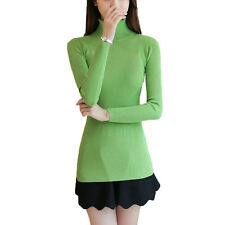 Women High Neck Slimming Mercerized Cotton Knitted Jumper Pullover Sweater Top
