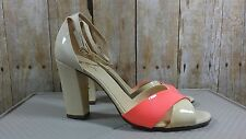Kate Spade Sandals 9 Ankle Strap High Heels Leather Sole Patent Buckle Party