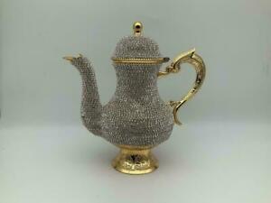 Swarovski Crystals Coated Copper Teapot Home Decor Handmade Gold