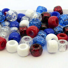 100 Union Jack Pony Beads Loom Bands Dummy Clip Red White Blue Glitter