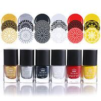 6pcs/set 6ml Born Pretty Stamping Polish Nail Art Stamp Plate Varnish Tool #1-6
