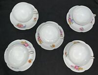 Set Of 5 Haviland France Limoges Tea Cups & Saucers White Floral Gold Trimmed EC