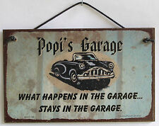 Popi's Garage Sign Happens Stays Man Cave Classic Chevy Shop Car Workshop Beer