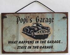 Popi s Sign Happens Garage Stays Man Cave Classic Chevy Shop Car Workshop Beer