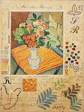MICHAEL EISEMANN-Israeli Modernist- Original Signed WC- Floral Still Life & Text